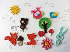 Woodland creatures crochet applique Party Favor Forest by TomToy