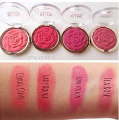 Milani cosmetics. New blush swatches