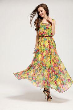 Chiffon Print Rose Short Sleeve Neckline Lace Long Summer Dress ...