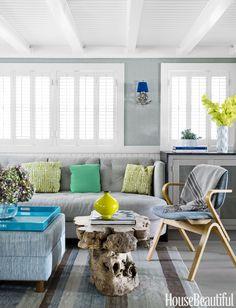 Beautiful home in House Beautiful featuring custom Carlisle White Oak Floors.  #carilslefloors #oakflooring #greyfloors