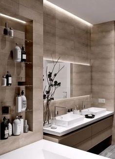 Moderne Badezimmer-Design-Ideen, zum sich zu inspirieren , Modern Bathroom Design Ideas To Inspire For example, if you need a modern bathroom vanity set, measure the available space first. The modern bathr. Bathroom Design Luxury, Modern Bathroom Design, Bathroom Designs, Bath Design, Small Elegant Bathroom, Toilet And Bathroom Design, Modern Luxury Bedroom, Parisian Bathroom, Modern Small Bathrooms