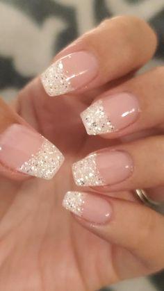 Bride Nails, Prom Nails, Bridal Toe Nails, Bridal Nail Art, French Manicure Nails, Gel Nails, French Manicure With Glitter, French Manicure With Design, Silver And Pink Nails
