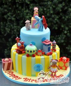 Two tier cake With In the Night Garden Figures - AC283 - Birthday Cakes Melbourne
