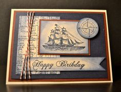 Stampin Up! Handmade Card, Masculine Birthday Card, Nautical Birthday Card on Etsy, $3.50