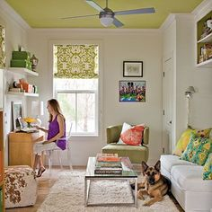 Modern Interior Decorating, 25 Ideas for Cozy Room Corner Decorating Do It Yourself Design, Colored Ceiling, Ceiling Color, Yellow Ceiling, Room Corner, Corner Wall, Prefabricated Houses, Living Room Color Schemes, Cozy Room