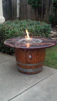 Custom French Oak Barrel Fire Pit refurbished and by FolsomOBC