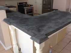 New Kitchen Blue Countertops Concrete Counter Ideas Cost Of Concrete Countertops, Diy Concrete Countertops, Countertop Materials, Kitchen Countertops, Recycled Countertops, Concrete Floors, Kitchen Cabinets, Cabinet Stain Colors, Concrete Dye