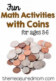 Money math for preschool, kindergarten, and first grade