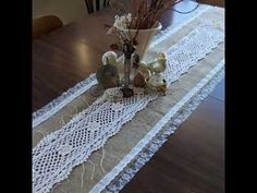 Love this Vintage Lace and Burlap runner.have the burlap need the lace.hmmm look thru gma's crochet box! Crochet Box, Vintage Crochet, Vintage Lace, Burlap Projects, Burlap Crafts, Sewing Projects, Lace Table Runners, Burlap Table Runners, Burlap Lace