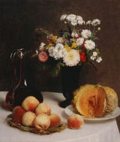 Still Life with a Carafe Flowers and Fruit  Henri Fantin-Latour