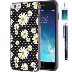 """iPhone 6 6s Plus 5.5"""" Case, True Color® Cute Daisies on Polka Dots Slim Hybrid Hard Back + Soft TPU Bumper Protective Durable [True Protect Series] +FREE Stylus & Screen Protector - Black. Top of the line quality Polka Dots & Daisies Flowers Full-HD print that will never come off or fade! It will stay good as new until you change for new device!. Cool, super-slim design along with high level of protection! Durable and smart 2 parts design of soft shock absorbing TPU / Silicon bumper…"""