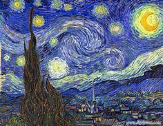 """La noche estrellada (1889) Vicent Van Gogh. """"La desazón interior convivía con una pasión creativa inextinguible y con su exacerbada sensibilidad por la belleza, y tal tensión está en la base de muchas obras."""" Biografías y Vidas, 2004-2016. Albano, Dominguez, Madera, Pericola."""