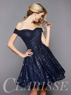 Sparkly Cute Homecoming Dress 3345 by Clarsse. Off the shoulder, short dress with sequined lace fabric. COLOR: Navy SIZE: 0-16  Find this cutie today by clicking the link below! http://clarisse.com/locator/index.php