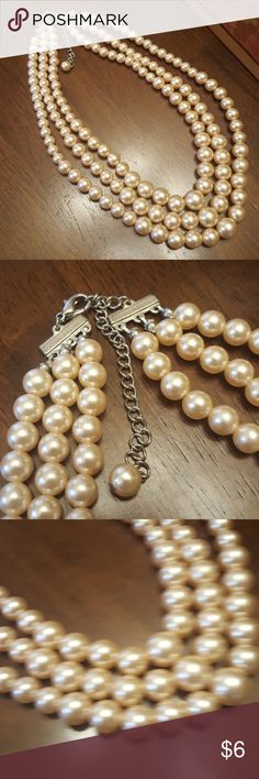 "Champagne Faux Pearls Can be worn up to 18"", excellent pre-loved condition.  No flaws. Jewelry Necklaces"