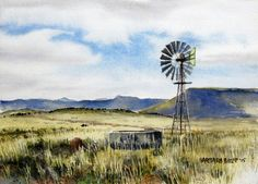 Windmill view over Dreunberg Farm Paintings, African Paintings, Watercolor Paintings, Windmill Art, Windmills, Beautiful Artwork, Painting Techniques, Art Pictures, Lighthouse