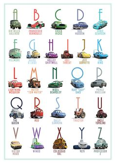 Printable Alphabet Lightning McQueen Cars Abc poster Decor