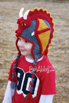 Crochet Dragon Hat Pattern (US TERMS)
