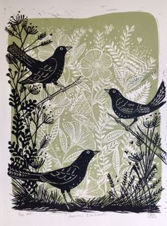 linocut printmaking Buy Curious Blackbirds, Linocut by Alison Headley on Artfinder. Discover thousands of other original paintings, prints, sculptures and photography from independent artists. Art And Illustration, Botanical Illustration, Linocut Artists, Lino Art, Woodcut Art, Linoprint, Guache, Tampons, Art Prints