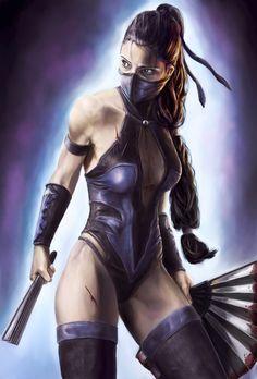 Kitana of the video game Mortal Kombat. Love her.