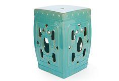 Like the shape. Square Ceramic Stool, Aqua on OneKingsLane.com