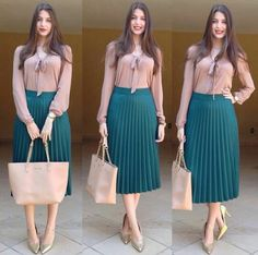 Ideas Skirt Midi Outfit Nude Heels For 2019 Modest Outfits, Classy Outfits, Chic Outfits, Dress Outfits, Fall Outfits, Work Fashion, Modest Fashion, Skirt Fashion, Fashion Dresses