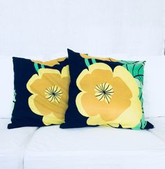 Pillowcovers made from a recycled retro fabric. Vintage interior details. By Johanna Sandberg.