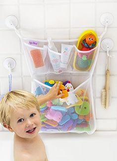 kids bathroom decor Bath Toy Organizer -The Original Tub Cubby - Large Quick Dry Bathtub Mesh Net - Massive Baby Toy Storage Bin + 3 Soap Pockets Suction Hooks & Stickers - kids room decor