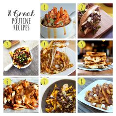 Here are 8 great poutine recipes! You don't have to be in Canada to eat delicious poutine - make it yourself! These delicious recipes can be made at home! Yummy Appetizers, Appetizer Recipes, Snack Recipes, Cooking Recipes, Canadian Dishes, Canadian Food, I Love Food, Good Food, Yummy Food