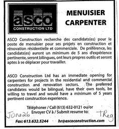 Job Posting for Carpenter - Demande d'emploi pour Menuisier .  See our website for other jobs! Voir notre site web pour autres postes!  http://www.giag.ca/employment-services/