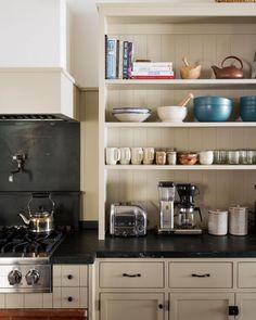 "SHERWOOD KYPREOS on Instagram: ""Kitchen Storage"" Cottage Kitchens, Home Kitchens, White Kitchen Cabinets, Kitchen Dining, Rustic Kitchen, Kitchen Sink, Neutral, Interior Design Portfolios, Toaster"