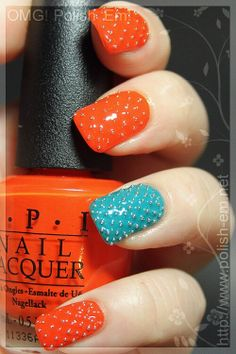 beautiful orange and turquoise nail polish studded with silver beads, OPI