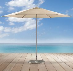 "Tuuci® Ocean Master Polished Titanium Hexagonal Umbrella $1225 -  8'6"" Hexagon - 8'3""h   1 1/2"" pole brushed titanium. 2ND CHOICE"