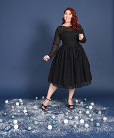 Unique Vintage Plus Size Black Dotted Long Sleeved Dita Swing Dress