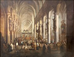 Painting by Leclerq, C. Inside vieuw of the Sint-Rombouts cathedral in Mechelen.