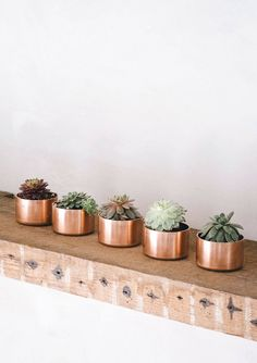Copper and succulents are a match made in heaven. | Copper Pots for Plants | Wedding Succulents | Copper Wedding Decor | Copper Wedding Ideas | Wedding Trends | Centerpiece Ideas | Welcome Table Decor | Metallic Wedding Ideas | #copperwedding #succulents