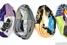 Make these DIY scarves using old knits and t-shirts. Upcycled t-shirt project.