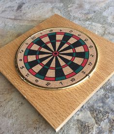 Vintage Wood & Cork Bullseye Trivet, Mid Century, Gameroom Decor, Mancave Decor, Lakehouse, Cottage, Cabin Decor