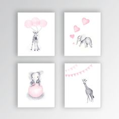 Zebra Canvas Art Baby Girl Nursery Art Animal Watercolor