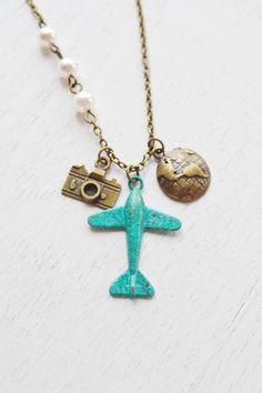 airplane glob necklace,aviation necklace,airplane aeroplane necklace,globe necklace,globetrotter gift,world traveler,camera necklace,patina verdigris,plane aircraft travel,christmas gift,holiday: