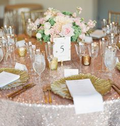 Romantic Blush & Gold Wedding Featured on Glamour & Grace — ROQUE Events Blush Wedding Colors, Gold Wedding Gowns, Gold Wedding Theme, Gold Wedding Decorations, Sparkle Wedding, Gold Wedding Invitations, Glamorous Wedding, Wedding Color Schemes, Wedding Centerpieces
