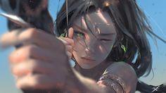 General 1920x1080 bow and arrow digital art archer bow women arrows bracelets green eyes