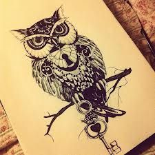 Black and White painting Awesome design animal tattoo Key owl tattoo design key hole owl drawing Kunst Tattoos, Bild Tattoos, Owl Tattoo Drawings, Tatoo Art, Tattoo Pics, Tattoo Images, Drawing Owls, Zentangle, Muster Tattoos