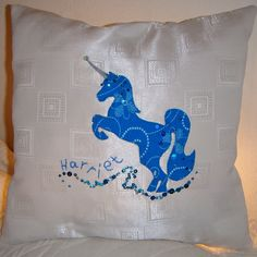 They make fabulous additions to your child's nursery, bedroom or playroom and wonderful gifts for Birthdays and Christmas for yourself, children, grandchildren or loved ones. We fill our cushions with non allergic hollow-fibre and double stitch around. Unicorn Cushion, Kids Zone, Kid Names, Kids And Parenting, Gifts For Him, Your Child, Cleaning Wipes, Hand Embroidery, Playroom
