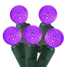 Set of 50 Purple LED G12 Berry Fashion Glow Christmas Lights - Green Wire