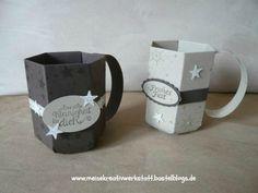 Tassen, Kaffeebecher, Weihnachten, Falz- und  Stanzbrett für Umschläge,