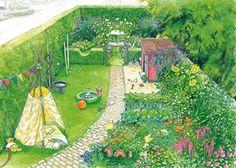 Dieser Familiengarten wurde durch eine niedrige Hecke in zwei Bereiche aufgeteilt. Dadurch erscheint er kürzer und gemütlicher. Vorn, in der Nähe des Hauses, befindet sich die zum Spielen angelegte Rasenfläche und ein kleiner Gemüsegarten, der im Sommer für frische Vitamine sorgt.