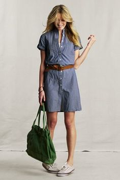 Denim dress with casual shoes