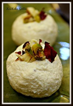 "Sandesh is an authentic bengali sweet. KaNcha Golla is a typical bengali sandesh.This sweet is made with ""Channa"" (home made paneer)..and it is called KaNcha (raw) Golla (ball), because we don't need to cook the channa to make this. It's a very beautiful and creamy sweet and usually it contains less amount of sweetness."