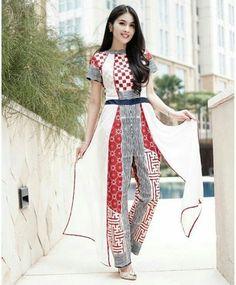 Jumpsuit Batik Kebaya, Kebaya Dress, Dress Pesta, Batik Dress, Muslim Fashion, Ethnic Fashion, Beautiful Casual Dresses, Batik Fashion, Fashion Dresses