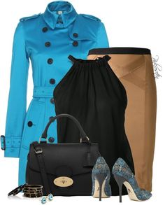 blue trench coat classy outfit